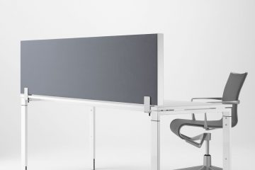 Schallschutz am Schreibtisch mit der eckigen Schreibtisch Trennwand von Decato