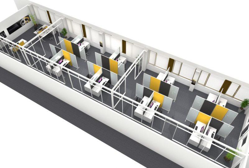 Beispiel Akustiklösung Call Center mit individueller Raumaufteilung
